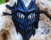 Onyx Leather Haunted Tree Ent Mask - Living Flame