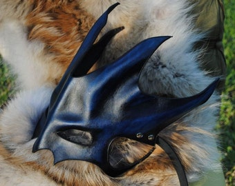 Sapphire Great Dragon Leather Mask