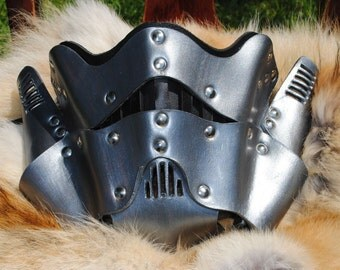 Pewter Leather Steampunk Trooper Motorcycle Mask