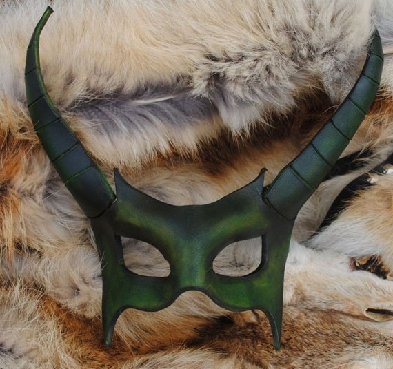 Emerald Demon Leather Mask