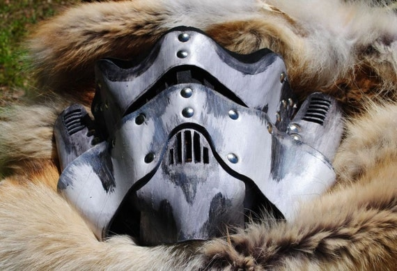 Bone Leather Steampunk Trooper Motorcycle Mask