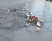Sterling Silver Butterfly and Fine Gemstone Natural Stone and Crystal Heart Chakra Healing and Balancing Necklace