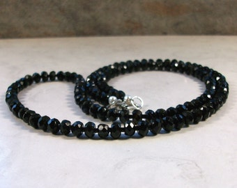 Faceted 6mm Black Onyx Natural Stone and Crystal, Base Root Chakra Healing Necklace with Clasp