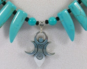 Moon Goddess, Fairy, Turquoise, Magnesite, Sterling Silver and Black Onyx Stone OOAK Throat Chakra Healing Necklace