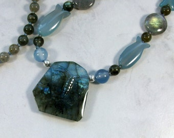Fiery Labradorite and Blue Chalcedony Butterfly, Moons, Angels and Fish OOAK Upper Chakra Necklace