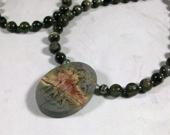 Three Graces Natural Sage Green Picture Jasper and Cats Eye Tourmaline OOAK Heart Chakra Necklace