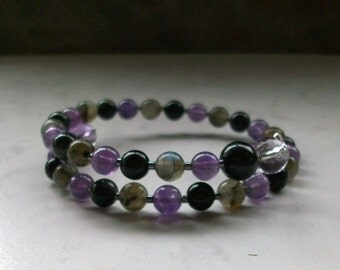 Protection - Amethyst, Labradorite, Rainbow Obsidian, Tourmaline and Ametrine Upper Chakra Healing Crystal Bracelet