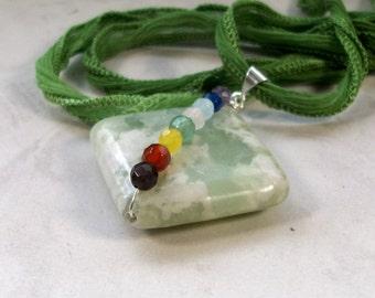 Peace Jade Full Spectrum OOAK Chakra Healing Pendant with Green Silk Ribbon