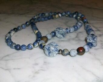 Indigo Blue Natural Stone and Crystal Brow Third Eye Chakra Healing Necklace