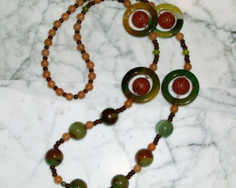 Energy Fields - Agate, Carnelian and Aventurine Natural Crystal Lower Chakra Necklace