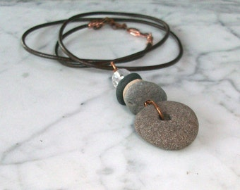 Balancing Beach Pebbles with Clear Quartz and Copper OOAK Chakra Healing Pendant on Brown Leather Cord
