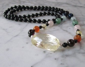 Rainbow Full Spectrum Natural Stone and Crystal Chakra Healing Necklace