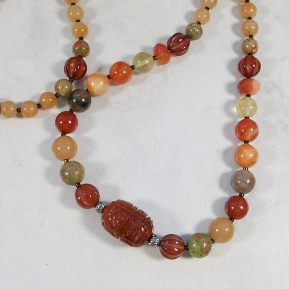 Creativity and Joy - Orange Natural Stone and Crystal OOAK Sacral Hara Chakra Healing Necklace