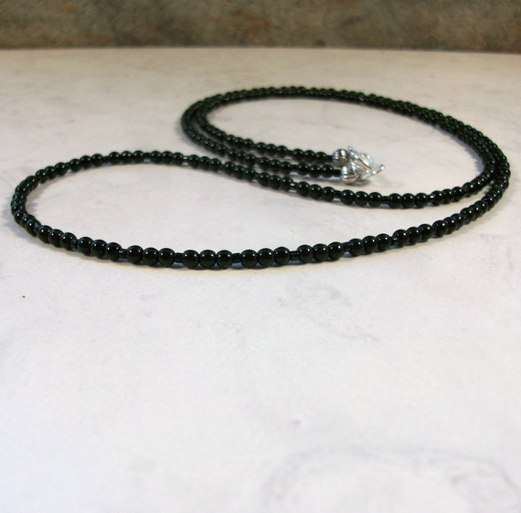 Tiny Black Onyx Natural Stone and Crystal Base Root Chakra Healing Necklace