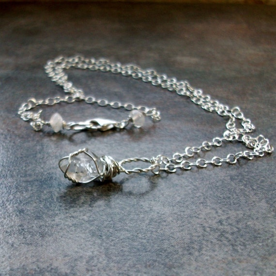 Herkimer Diamond Healing Crystal with Rainbow Moonstone Accented Sterling Silver Chain OOAK Chakra Pendant Necklace