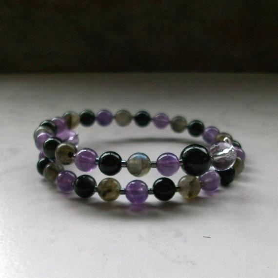 Protection - Amethyst, Labradorite, Rainbow Obsidian, Tourmaline and Ametrine Upper Chakra Healing Crystal Bracelet