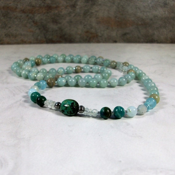 Turquoise Blue OOAK Natural Stone and Crystal Throat Chakra Healing Necklace