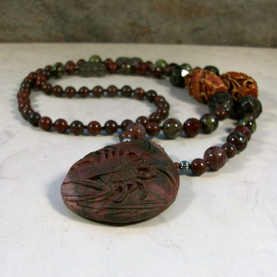 Sea Life - Jasper, Muscovite, Blood Stone, Agate and Garnet Natural Stone and Crystal Base Root Chakra Healing Necklace