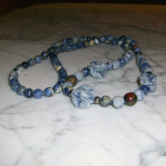 Indigo Blue Natural Stone and Crystal Brow Third Eye Chakra Healing Necklace
