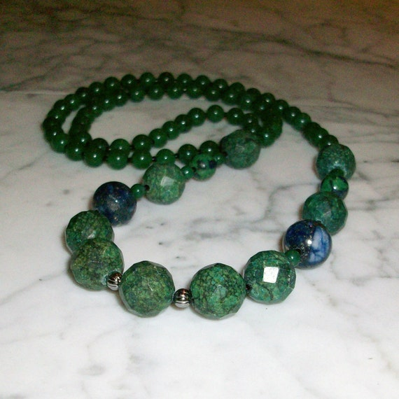 RESERVED for Mary Everett Prosperity Chrysocolla, Malachite, Aventurine, Lapis and Azurite Natural Stone and Crystal Chakra Healing Necklace