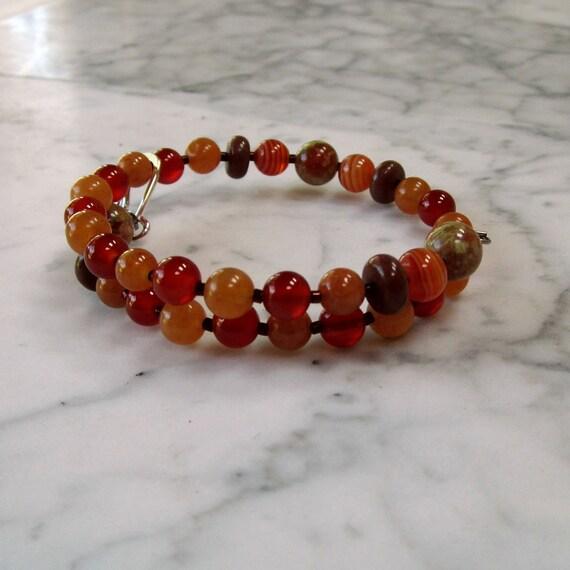 Creativity and Joy, Natural Stone and Crystal Sacral Hara Chakra Healing Bracelet