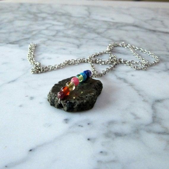 Clear Head - Organic Pyrite Slab Full Spectrum OOAK Chakra Healing Pendant with Silver Chain