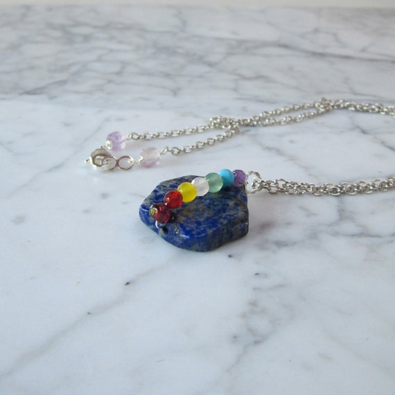 Lapis Lazuli with Pyrite Slice Full Spectrum OOAK Chakra Healing Pendant with Silver Chain