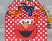 Elmo Favor Boxes - Medium Red and White Polka dots