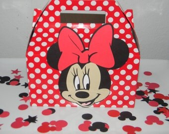 Minnie Mouse Party Favor Boxes - Medium Red and White Polka dot