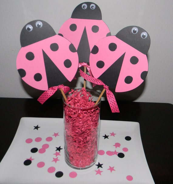 Lady Bug Centerpiece Picks- Set of 3 - Pink and Black