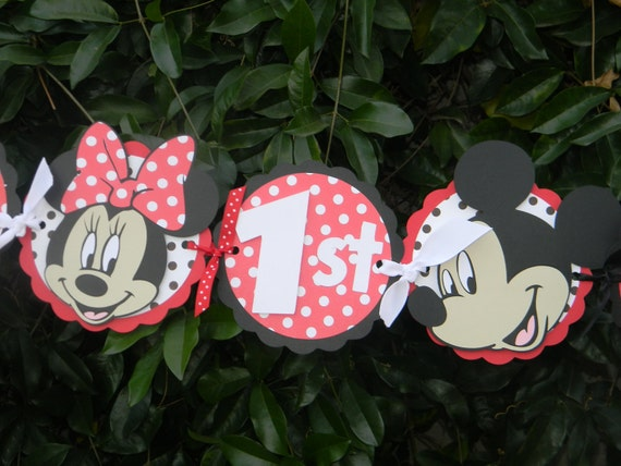 Mickey/Minnie Mouse Birthday Party Banner - Red/White Polka Dots