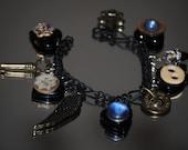 BLUE PARIS ... vintage hearts found object charm bracelet