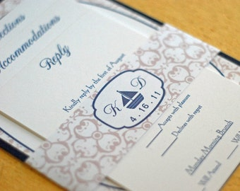 Sailboat Monogram- Wedding Invitation (Belly Band)