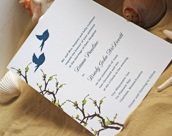 Birds and Tree Branches- Wedding Invitation