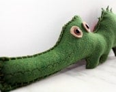 Alligator Felt Plush Stuffed Animal, Crocodile Stuffed Animal, Felt Animal Plush, Green Felt Alligator