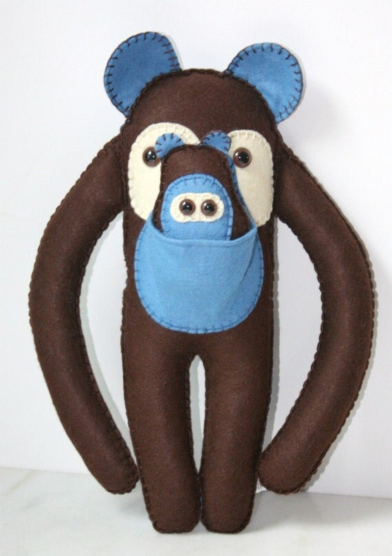 Felt Stuffed Plush Monkey Bear Animal, Cute Stuffed Plushie Animal, Blue and Brown Felt Toy