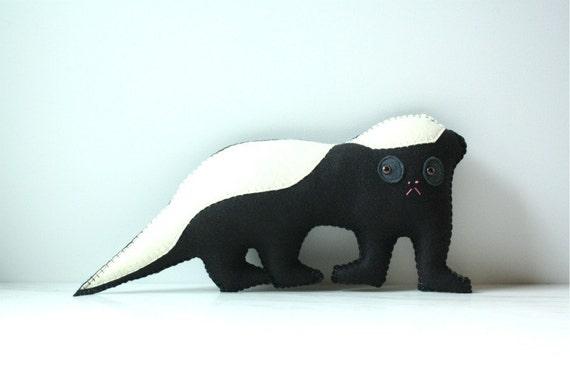 Honey Badger Felt Plush Stuffed Animal Pillow, Honey Badger Stuffed Animal, Felt Animal Plush, Black and White Felt Toy Honey Badger