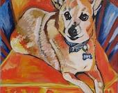Custom Original Pet Portrait Painting Acrylic on Canvas 16X20