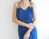 Draped Evening V neck Halter Dress in Blue with Free Custom Made Sash Belt