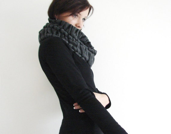 Infinity Loop Scarf Fashion Accessory in Black and Grey