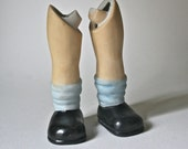 Porcelain Doll Parts - Child Legs with Slouchy Socks and Black Shoes