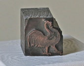 Vintage Letterpress Dingbats or Ornaments Proud Rooster for Stamping Printing Home Decor