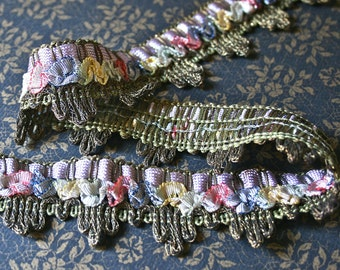 Rare Vintage Metallic Trim with Ombre Silk Ruched Ribbon for Costumes Upholstery Home Decor
