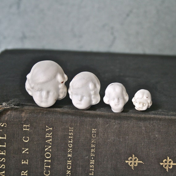 Vintage Porcelain Doll Heads in Four Sizes 1800's Germany for Altered Art Assemblage