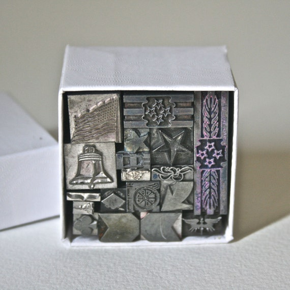 Vintage Letterpress Type Box of Small Ornaments or Dingbats for Collage Assemblage Printing Stamping- Box 2