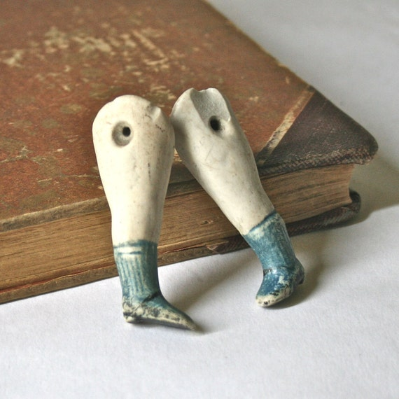 Vintage Porcelain Doll Parts - Pair of Child Legs with Blue Socks and Black Shoes