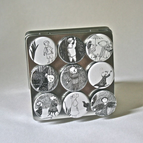 Strong Ceramic Magnets featuring Children by Edward Gorey