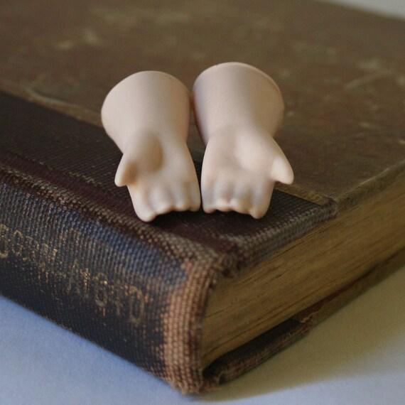 Vintage Porcelain Doll Parts - One Pair of Child Hands