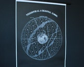 Terrestial and Celestial Globes Chart (signed)