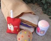 Ready to ship Felt Food Sack Lunch Set - Take apart peanut butter jelly sandwich, juice pouch, cookie, yogurt and felt sack